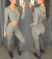 Wholesale Motorcycle Hooded Sweatshirts - 2016 Fashion Latest Style Gray Women Tracksuits Sexy V Neck Hooded Long Sleeve Short Sweatshirt and Pants Two Pieces Casual Sport Suits