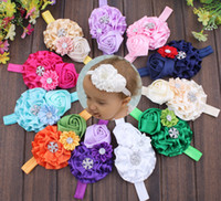 Wholesale Cheap Hair Bands Flowers - Length: 15CM width: 0.7CM kids fashion hair band 2016 baby hair band beautiful flowers cheap hair bands headdress 15pcs B3