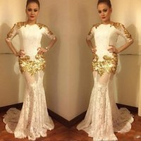 Wholesale see through dresses for women resale online - Vintage Gold Lace Mermaid Evening Dresses Half Long Sleeves Sexy See Through Skirt Sweep Train Prom Party Gowns For Arabic Women