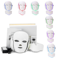 Wholesale face ems - 7 Color LED Facial Neck Mask With EMS Microelectronics LED Photon Mask Wrinkle Acne Removal Skin Rejuvenation Face Beauty Spa