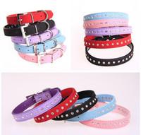 Wholesale Dog Rows Collars - 2016 Row Rhinestone Dog Collar Diamante Pet Collars Pu Leather XS S M WJIA012