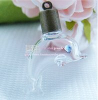Wholesale Dolphin Vial - 5*23mm blue eyes dolphin glass bottle rice vial +cap