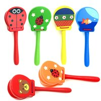 Wholesale Wooden Instruments For Children - Wooden Cartoon Animals Orff Percussion Instruments Handle castanets knock musical toy for Children Gift Baby Solid Wood Music Toys