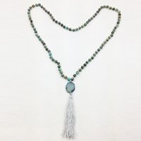 Wholesale Bohemian Beaded Necklaces - ST0299 Mala Yoga Necklace 38 inches Personalized African Turquoise Knotted Necklace Women Tassel Neckalce witha agate stone pendant