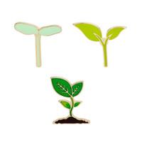 yeşil yaprak broş toptan satış-Karikatür Emaye Broş Yaka Iğneler Yeşil Yapraklar Kaktüs Bitki Filiz Tomurcukluk Ateş Rozeti Korsaj Giysi Çanta Sırt Çantaları Için