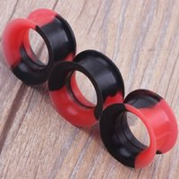 Wholesale red ear plugs jewelry online - Avaliable Body Jewelry Double Flared Black Red Multicolor Silicone Flesh Tunnel Ear Piercing Jewelry Ear Expander Plug