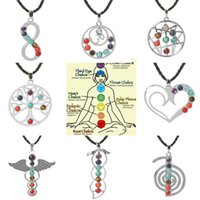 Wholesale Love Heals Necklace - Love Heart Infinity Wings Seven Beads Natural Quartz Gemstones Stone Pendant Necklace Meditation Healing Point Chakra Reiki Pendent Necklace