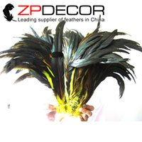 Wholesale yellow rooster feathers - ZPDECOR 35-40cm(14-16 inch) Beautiful Yellow Dyed Long Rooster Chicken Tail Feathers for Christmas Cosplay Decoration