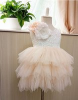 Wholesale Beading Flower Dress - Girls party dress new children Stereo flowers lace tulle tutu dresses girls back V-neck tulle cake dress kid knee length wedding dress A9044