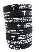 Wholesale jesus men bracelets - Bulk Lots 100pcs English jeremiah 2911 lords prayer Men Fashion Cross Silicone bracelets Wristbands wholesale Religious Jesus Jewelry Lots