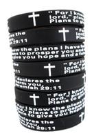 ingrosso braccialetto jesus uomini-Lotti di massa 100 pz inglese Jeremy 2911 signori preghiera Uomini moda croce bracciali in silicone braccialetti all'ingrosso religioso Gesù gioielli lotti