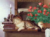 Wholesale Kitten Cross Stitch - 2016 Diy 5D Kitten and roses Diamond Painting embroidery canvas home decoration painting Full Diamond cross stitch mosaic