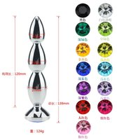 Wholesale Silver Ass Plug - 12 Colors Available Metal Plug 140*27mm Chastity Devices Butt plug Anal Sex Toy Anal Plug Ass Toy plug Sex Toys for men women,M157-Silver