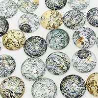 Wholesale Steampunk Findings - wholesale 20 pcs mix Steampunk gear Pattern Round Glass Cabochon 20mm 25mm Dome Flat Back DIY Jewery Finding KB1301