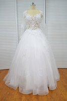 online shopping Ball Gowns - Vestido De Festa De Casamento Vinoprom V-Neck Ball Gown Sweetheart Long Sleeves White Lace Wedding Gown Bridal Dresses 2018