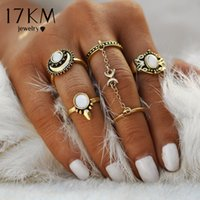 Wholesale Moon Stone Rings - 17KM 5pcs Set Boho Beach Flower Tibetan Moon And Sun Midi ring Sets for Women Knuckle Siamese brinco Chain Mittens Rings Gift