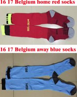 Wholesale Stocking Football Socks - Benwon - 16 17 Belgium home red soccer socks Knee High cotton football stocking Belgium away blue sport socks Thicken Towel Bottom long hose