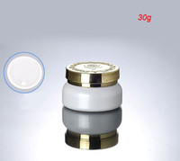 Wholesale Cosmetic Containers For Sale - NEW 30G white glass cream jar with gold lid ,glass shine white cosmetic container 30 g, empty glass cosmetic jar for sale