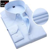 Wholesale High Collar Dress Shirt Men - Wholesale-VISADA JAUNA Popular New Brand Fashion Business Men Shirt New Male Cotton High Quality Solid Long Sleeves Shirts S-4XL MC0175