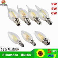 Wholesale E12 Lm - LED Candle Lamp C35 C35T COB filament bulb chandelier 2700K 2W 4W 6W E14 E12 base 110V 220V AC 110 LM W Approval