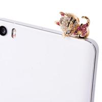 Wholesale Sansumg Phones - Wholesale-Sweet Cat Dust Plug Full of Diamond Jewelry Sleepy Phone Dust Plugs For Iphone Sansumg 3.5mm Earphone Plugs