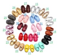 Wholesale Nice Sandals - Newest infant Summer PU sandals Baby Double layer tassel soft soles nice and cool RUBBLE shoes solid color Shoes 19colors