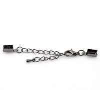 Wholesale Chain End Caps - Hot 2x20PCs Gunmetal Lobster Clasp Tail Extender Chain W Crimp End Caps 7x5mm 26x7mm (Over $129 Free Express)