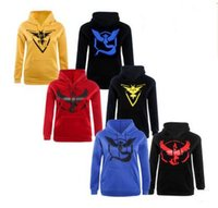 Wholesale Mens Slim Hoodies Wholesale - Men Poke Go Hoodies Poke Sweatshirts Pullover Mens Fashion Pikachu Jacket Poke Ball Coat Casual Pocket Monster Outwear Poke Jumpers Free Shi