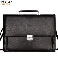 Atacado- VICUNA POLO 2017 Business Anti-theft Lock Open PU Leather Briefcases Homens Moda Famous Brand Handbag Luxury Men Bag portfólio
