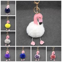 Cartoon Flamingo Keychain Fofo Artificial Rabbit Fur Ball Chaveiro Carro Bag Key Ring Pendant 30 Cores OOA2606