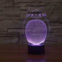 идеи ночных огней оптовых-Прекрасный мультфильм Тоторо 3D стереоскопический LED Night Light украшения Детская комната Идеи Настольная лампа USB Light Прикроватная лампа с USB линии