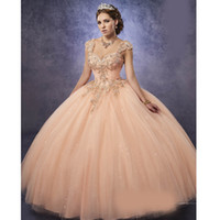 Wholesale Peach Pear - Sparkling Tulle Quinceanera Dresses 2018 Detachable Straps and Basque Waist Peach Sweet 16 Dress Lace Up Back