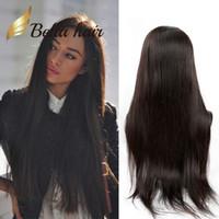 perucas feitas para mulheres negras venda por atacado-Barato perucas para as mulheres negras peruano virgem máquina de cabelo humano feito peruca peruca cheia do laço peruca dianteira do laço diy bella cabelo 130% de densidade de lojas