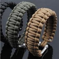 Wholesale Stainless Steel D Shackle - Military Survival bracelet Paracord Parachute Cord Life-saving Bracelet With Stainless steel D shackle