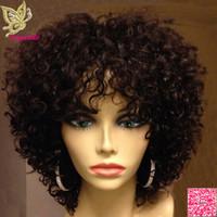 yapışkan olmayan peruk bakire kıvırcık toptan satış-Kısa Sapıkça Kıvırcık Dantel Ön İnsan Saç Peruk Patlama Ile Perulu Bakire Saç Tutkalsız Tam Dantel İnsan Saç Peruk Siyah Kadınlar Için