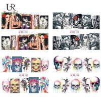 Wholesale Halloween Nail Stickers Skull - Wholesale- 1Sheet Halloween Nail Art Water Tattoo Stickers Decals Skull Full Nail Tips Stickers Watermark Manicure Wraps BN185-188