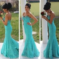 Wholesale Dress Sweetheart Neckline Romantic - 2016 Vintage Prom Dresses Mermaid Style Elegant Romantic Lace Light Blue Evening Party Gowns Beaded Crystals Sweetheart Neckline Sleeveless