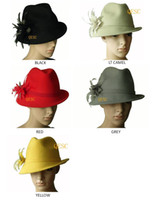Wholesale feel golf - Wool felt hat winter hat with feather flower,one side up brim,best choice for winter.black,yellow,wine,grey,red.
