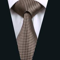 ingrosso abiti formali marroni-Cravatta Jacquard intrecciata in seta a quadri marrone 8,5 cm Larghezza 150 cm Lunghezza abito formale cravatta da lavoro D-0833
