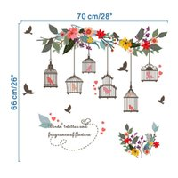 Wholesale Livingroom Wall Stickers - Romantic Hot Flower Vines Bird Cage TV Wall Decoration Window Wall Paintings Removable Wall Stickers For Livingroom Decoration