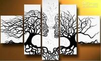 couple abstrait peinture achat en gros de-Étiré abstrait noir blanc peinture à l'huile Couple Love Tree oeuvre Prêt à accrocher bureau à la maison hôtel décoration mur art décor cadeau À La Main