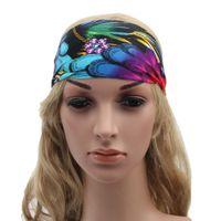 Wholesale Tie Headband Purple - 16 Colors Women Fashion Yoga Headband Stretch Twist Turban Sport Headbands Headwrap Fitness Wide Colorful Bohemia Headbands