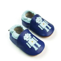 Wholesale Handmade Shoes For Baby Girls - 2015 new leather baby toddler shoes for kid girls boys blue handmade baby shoes with robot pattern non-slip design free shipping