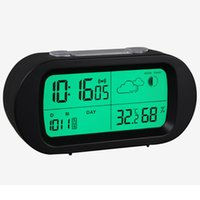 Recentemente Stazioni Desktop Weather Clock LCD Display Allarme Nightlights Digital Alarm Guarda Bambini orologio elettronico Tabella Temperatura