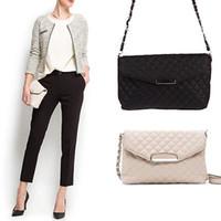 Wholesale Handbags Clutches Envelopes - Wholesale-Fashion Women PU Leather Clutch Handbag Tote Purse Messenger Shoulder Bag Envelope Bag