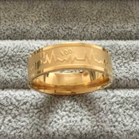 Wholesale Heartbeat Gifts - 8mm 316L Stainless Steel 18K gold plated wedding Rings women's Men's titanium steel ECG Heartbeat 100 heart love rings