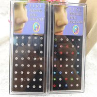 Wholesale Pin Piercing - 2mm Cz crystal stainless steel lip stud earring straight pin nose ring and stud fashion piercing body jewelry