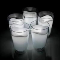 tazas pequeñas de leche al por mayor-Hot Romantic Small table bar lámpara de noche White Milk Cup Lamp LED luz de noche # B591