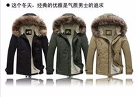 Wholesale Thick Warm Cheap Winter Coat - cheap new arrival men's thick warm winter down coat fur collar army green men parka big yards long cotton coat jacket parka