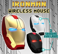 ingrosso mouse fresco-Popolare Iron Man Light Mouse E-blu Ergonomic Silent Gaming Mouse 2.4G Cool Light-Emitting occhi Wireless Mouse USB per computer portatili Computer Gamer
